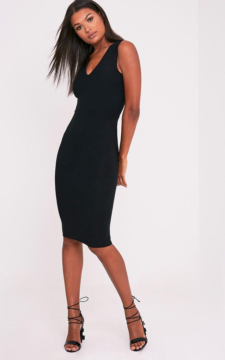 Chanee Black Sleeveless Plunge Midi Dress 1