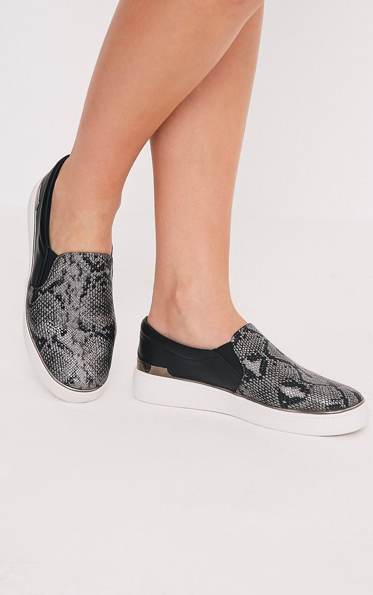 Ania Grey Faux Snake Skin Slip On Trainers