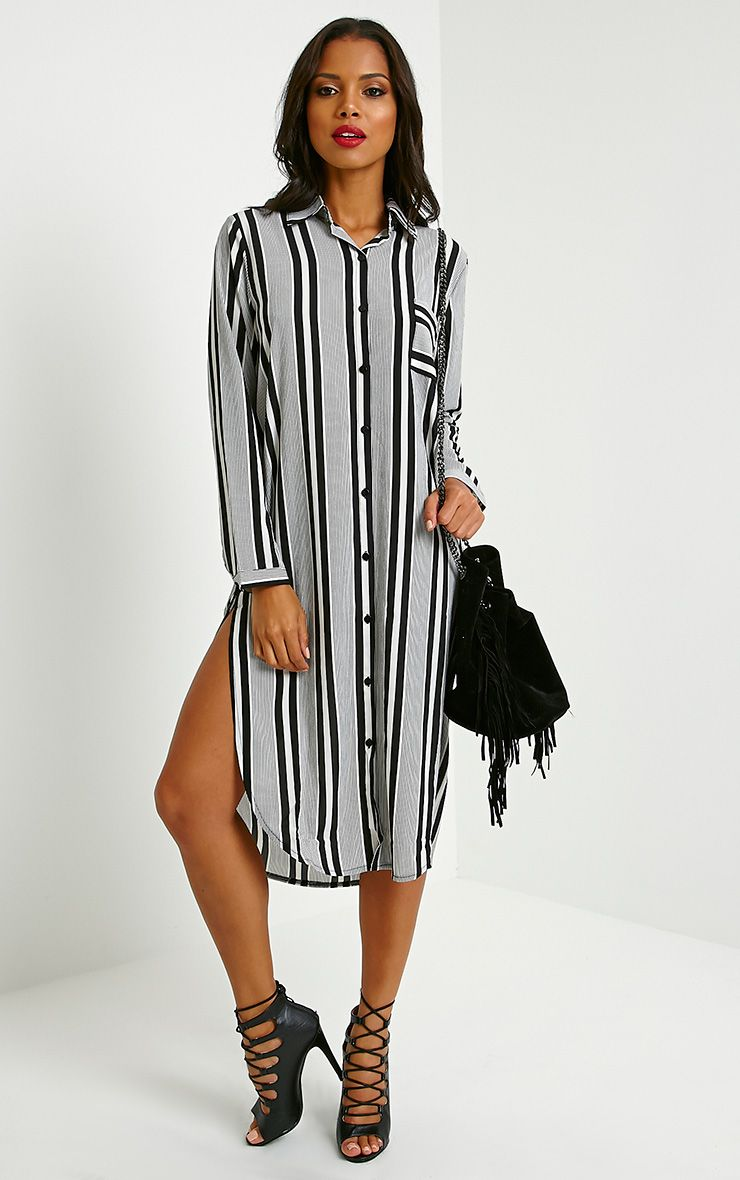 Renasa Black Striped Shirt Dress 1