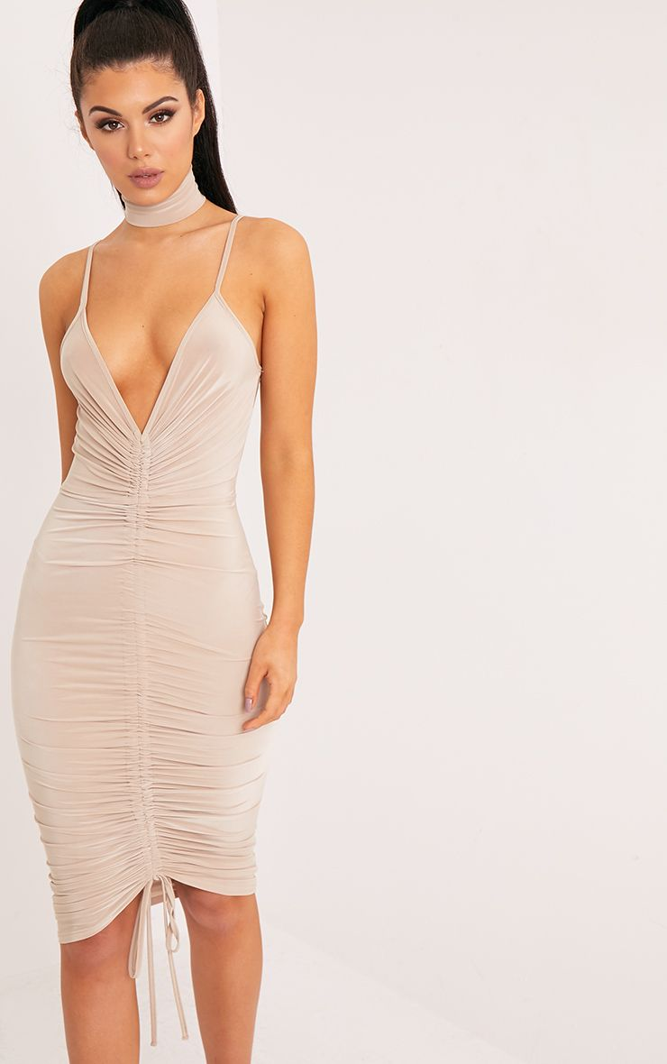 Lucie Nude Strappy Ruched Midi Dress