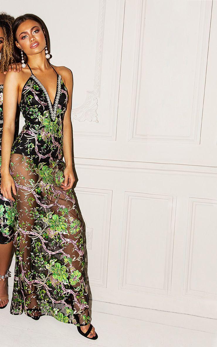 Premium Green Embroidered Floral Halterneck Maxi Dress