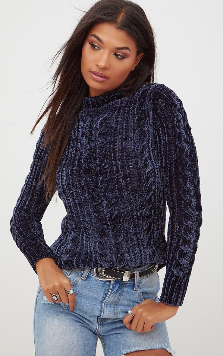 Blue Chenille Cable Jumper