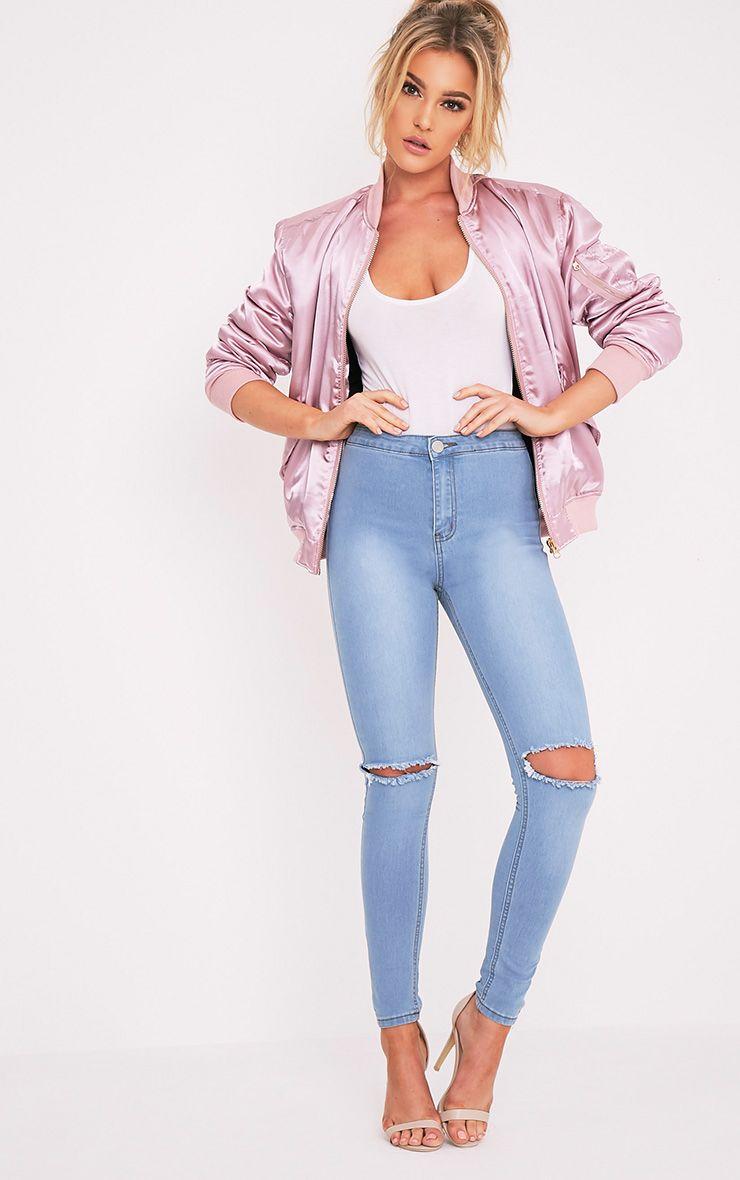 Light Wash Knee Rip High Waisted Skinny Jean 1