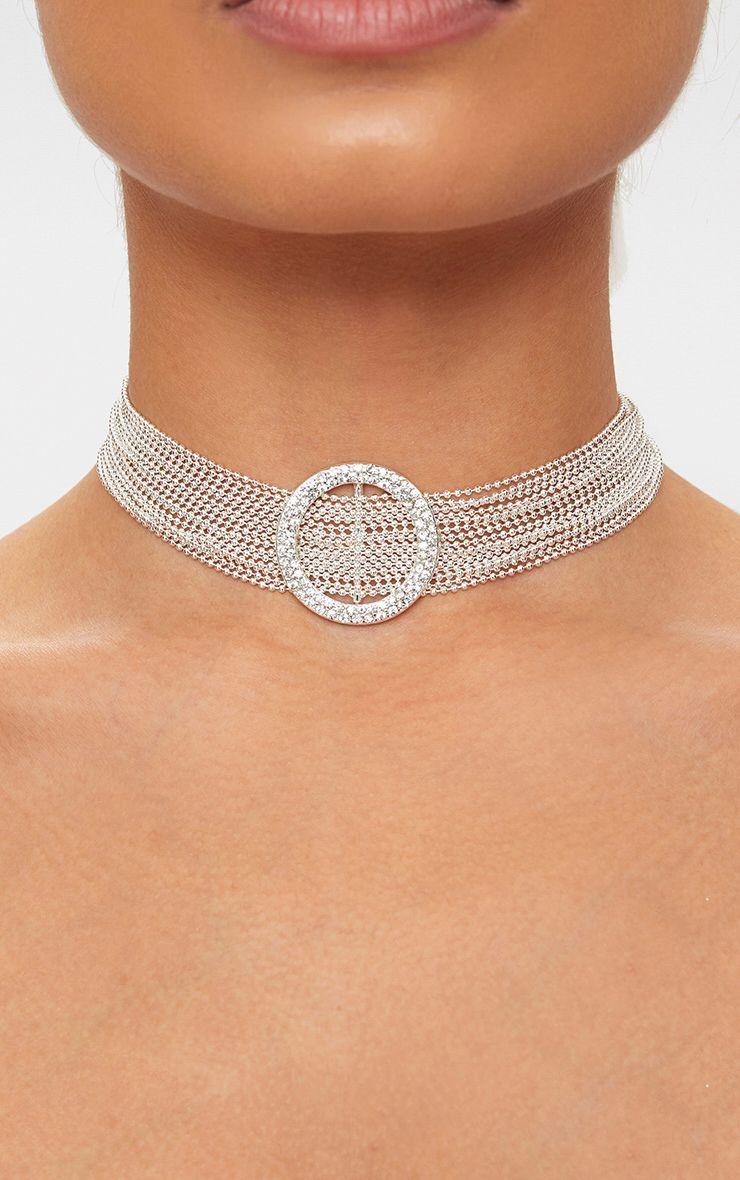 Silver Chain Diamante Circle Choker 1