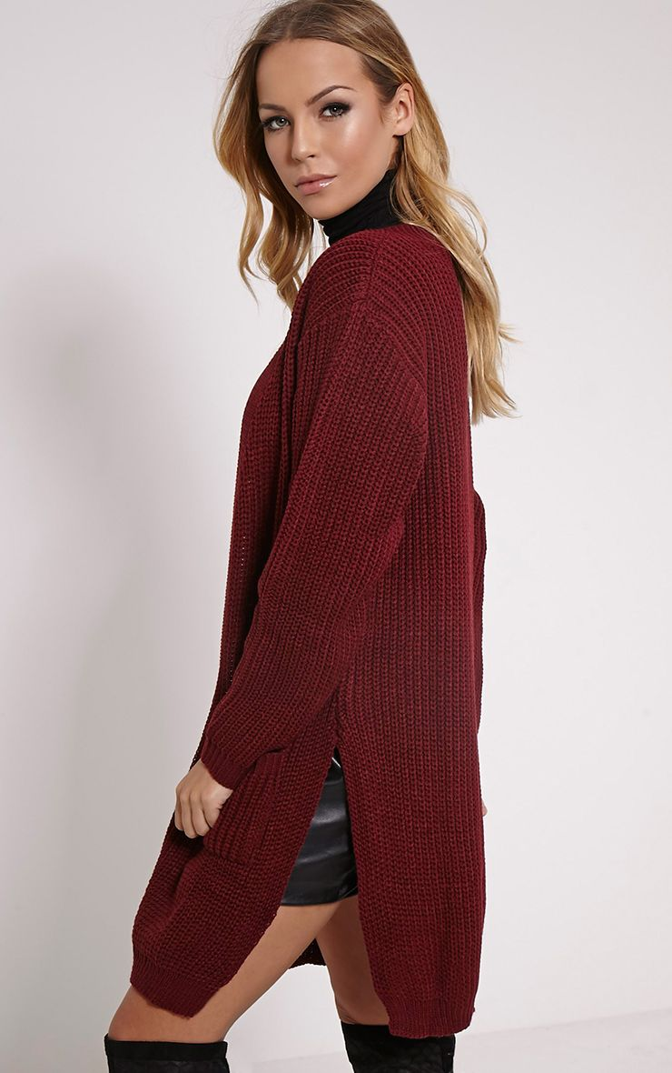 Tilly Wine Side Split Oversized Cardigan 1