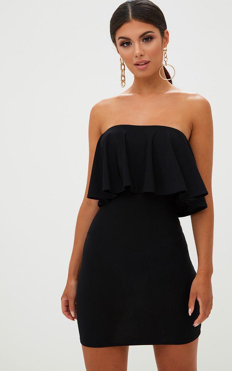 Black Frill Bandeau Bodycon Dress