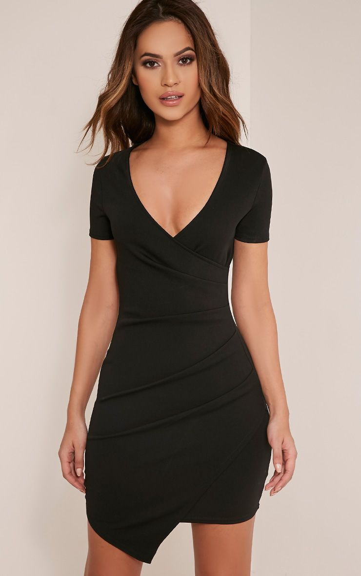 Amarnie Black Capped Sleeve Bodycon Dress 1