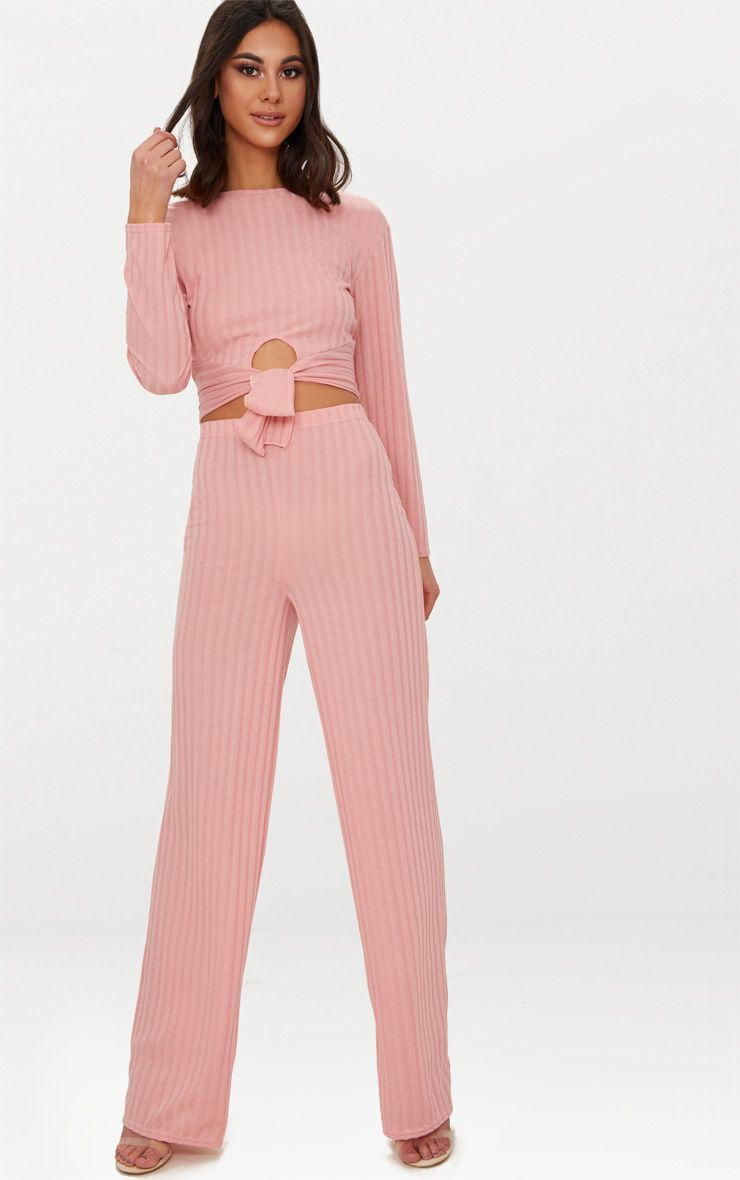 Pink Rib Knit Tie Front Co ord Set