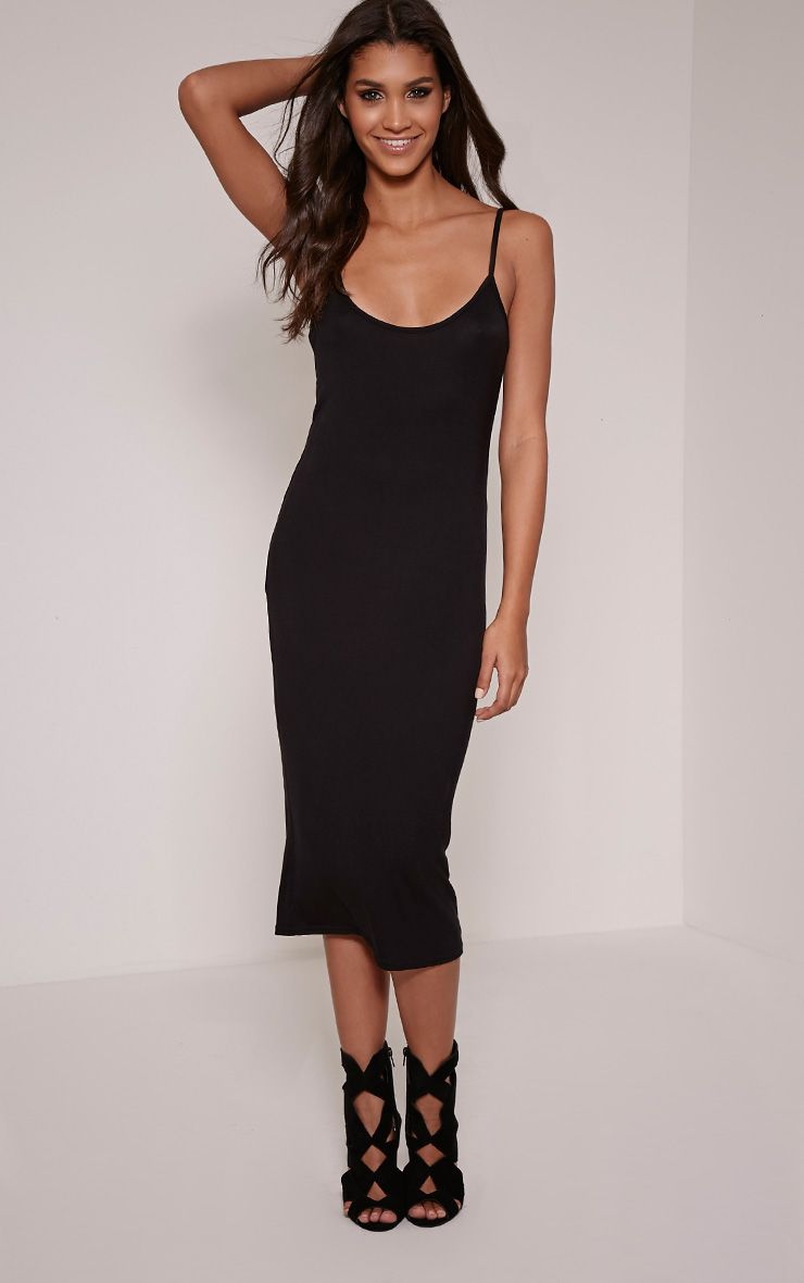 Basic Black Thin Strap Racer Neck Jersey Midi Dress 1