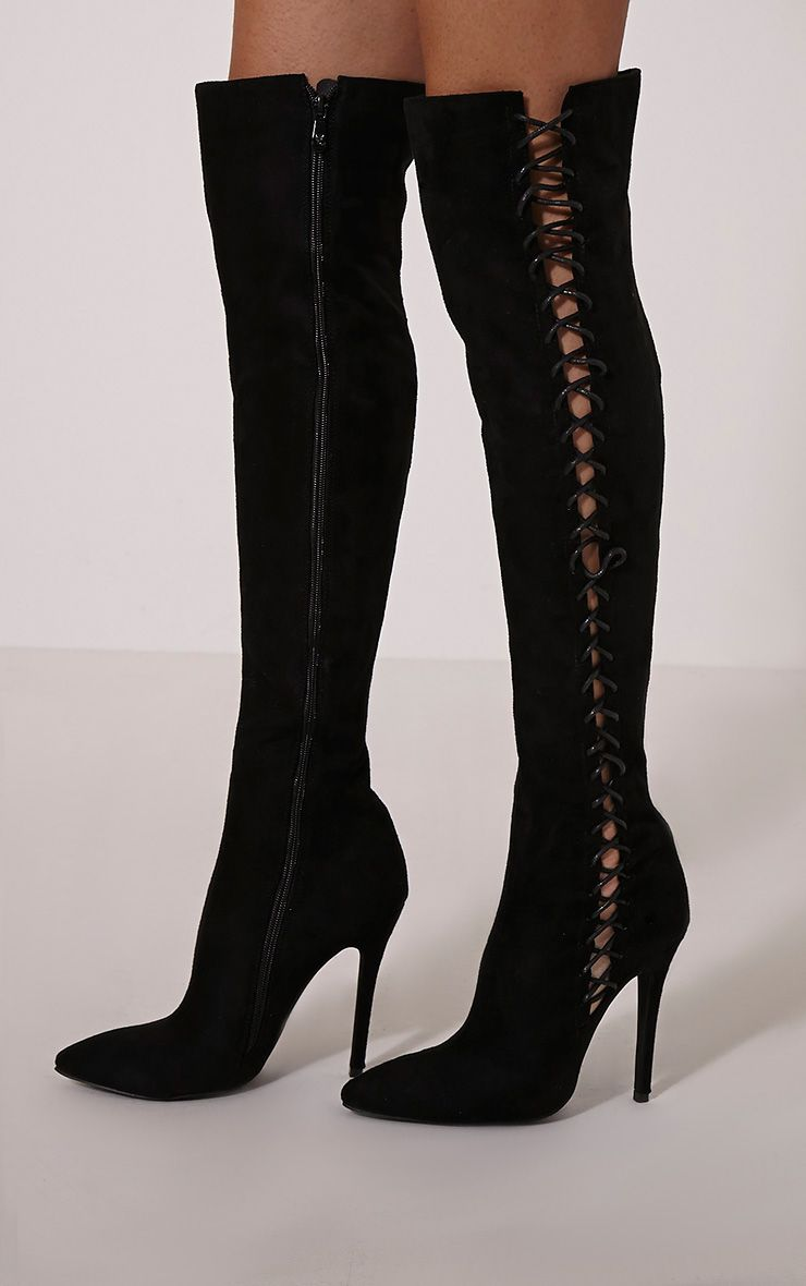 Quinna Black Lace Detail Knee High Boot