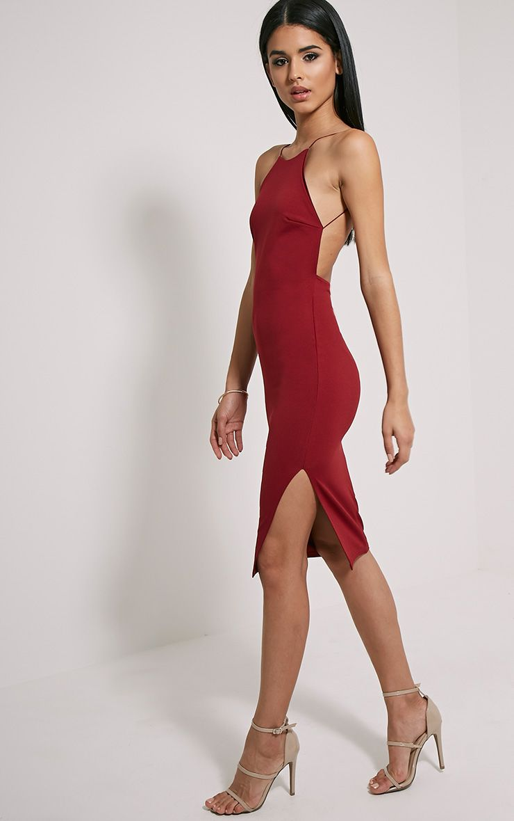 Kady Wine Backless Midi Dress