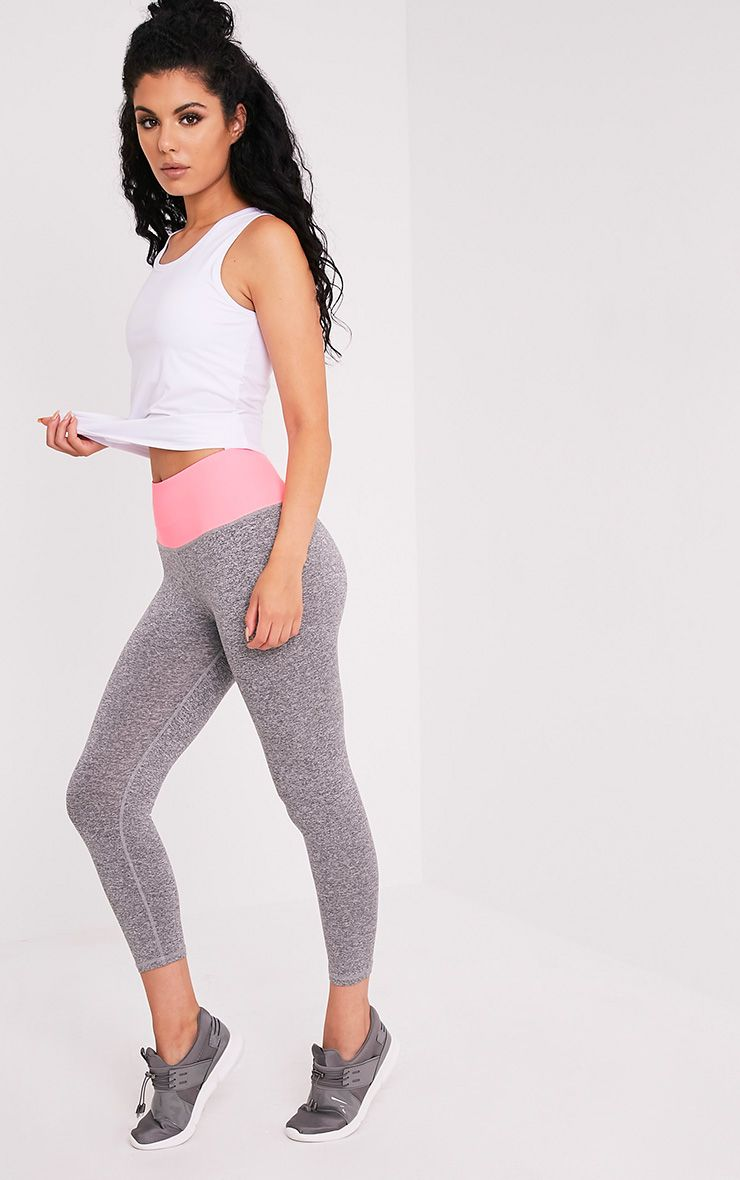 Brooke Neon Pink Cropped Gym Leggings 1
