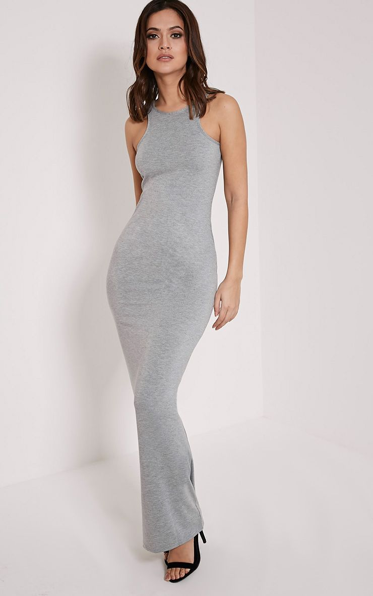 Basic Greymarl Racer Neck Maxi Dress 1