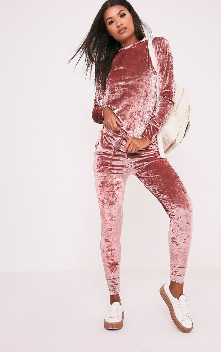Cate Dusty Pink Crushed Velvet Tracksuit Bottoms