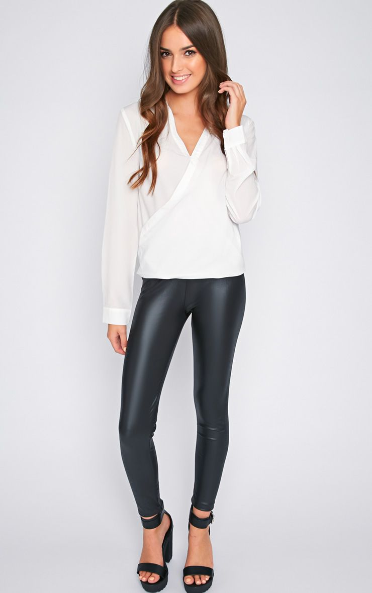 Tilly Black Wet Look Leggings  1