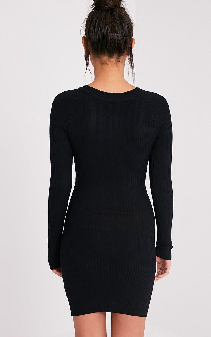 Maegan robe mini noire côtelée à fermeture sur le devant 2