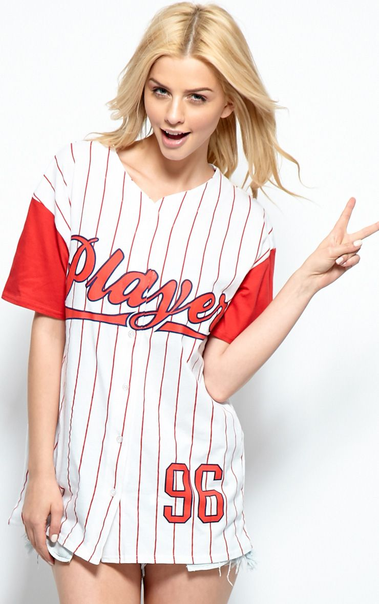 Winston Red & White 'Player' Button Up Baseball T-Shirt 1