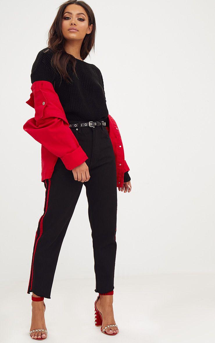 Christiana Black Mixed Knit Slash Neck Crop Jumper 4