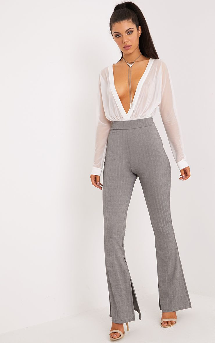 Soreya Grey Ribbed Inside Split Wide Leg Trousers