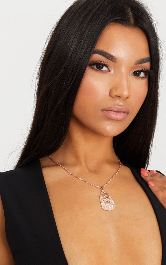 Rose Gold Pendant Drop Necklace
