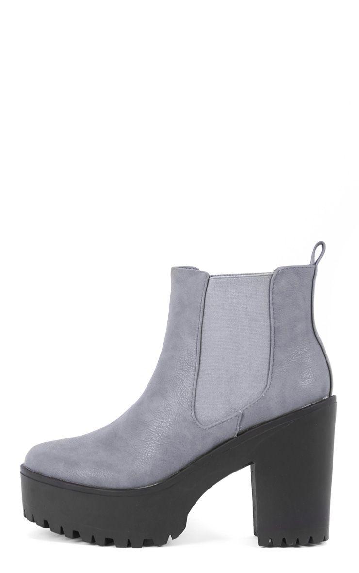 Jaida Grey Chunky Chelsea Boot 1