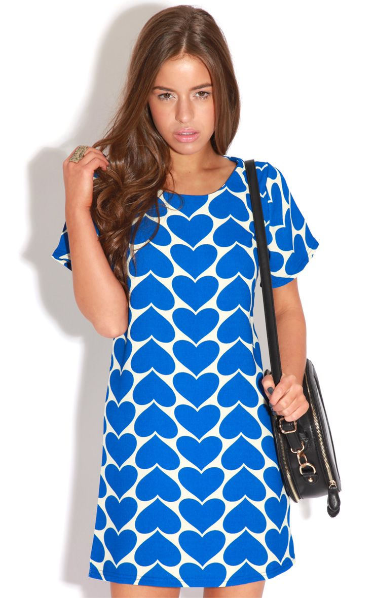 Maria Blue & Cream Heart Dress 1