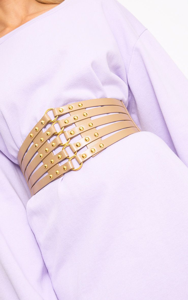 Nude Studded Multi Ring Corset Belt