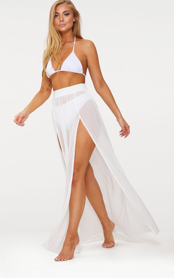 Minah White Mesh Maxi Skirt 1