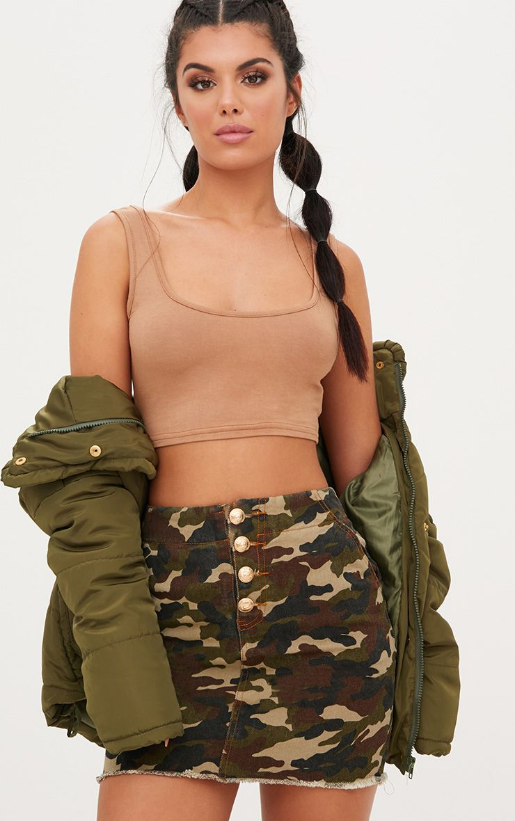 Khaki Camouflage Denim Mini Skirt