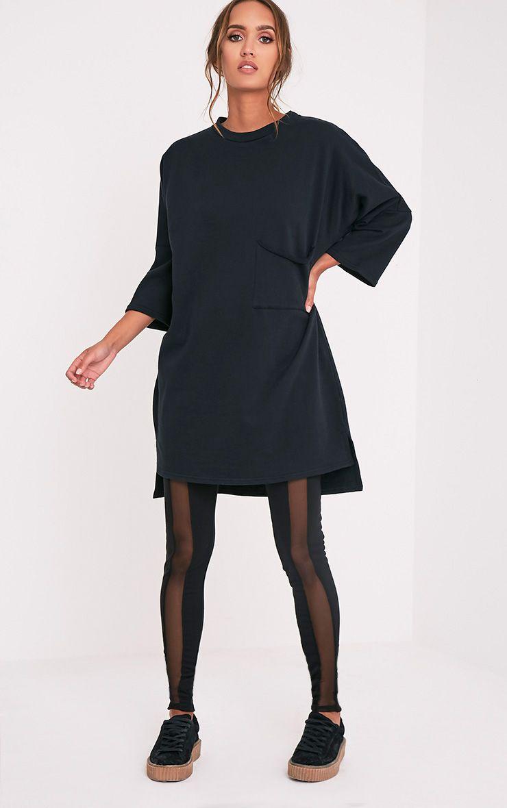 Ceara Black Split Side Sweater Dress 1