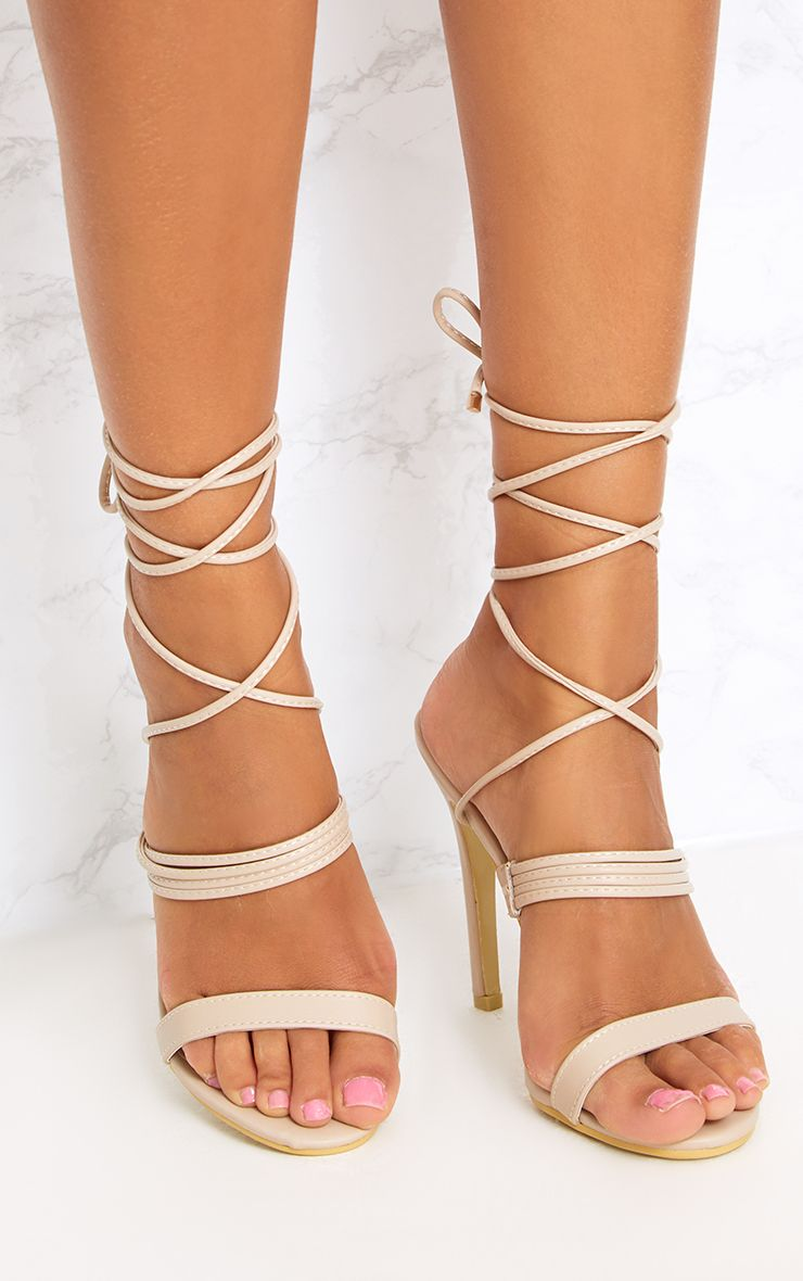 Nude Thin Strappy Lace Up Heels