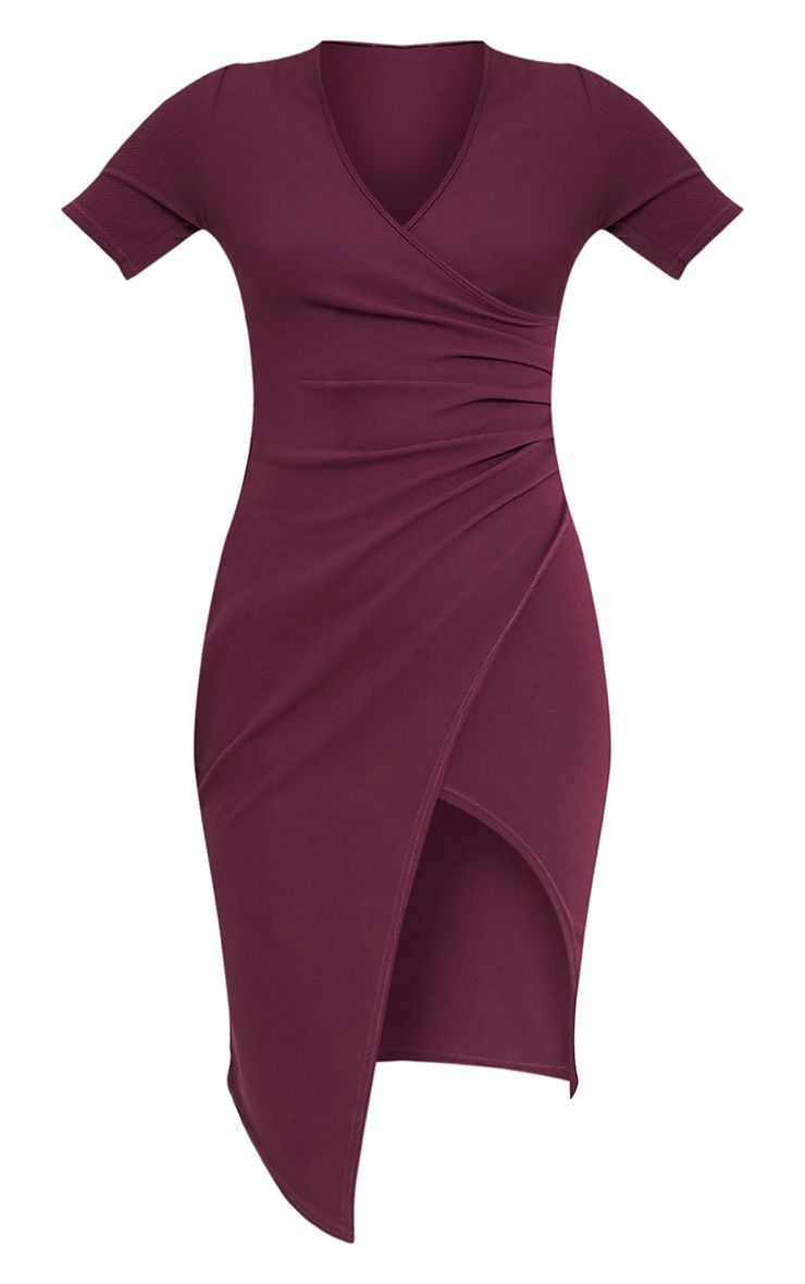 Ivie robe midi cache-cœur aubergine à manches courtes 3