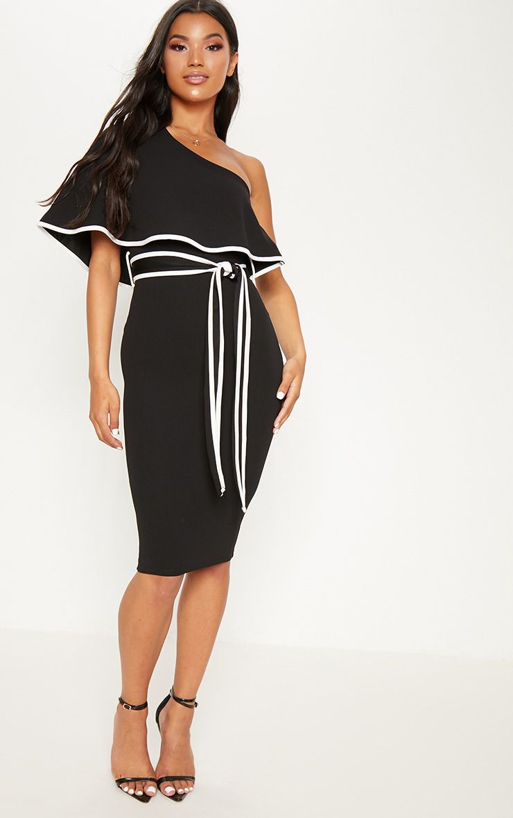 Black One Shoulder Binding Detail Midi Dress