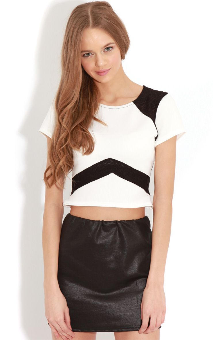 Nova Monochrome Mesh Panel Crop Top 1