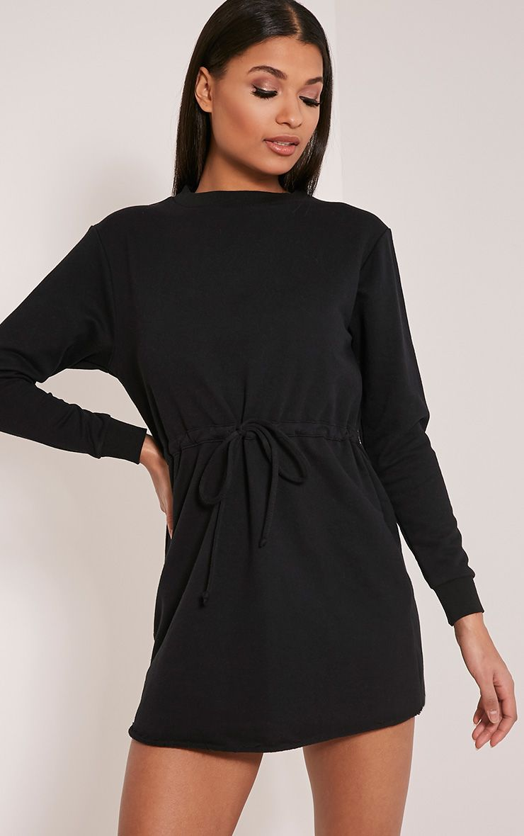 Demmi Black Tie Waist Sweater Dress 1