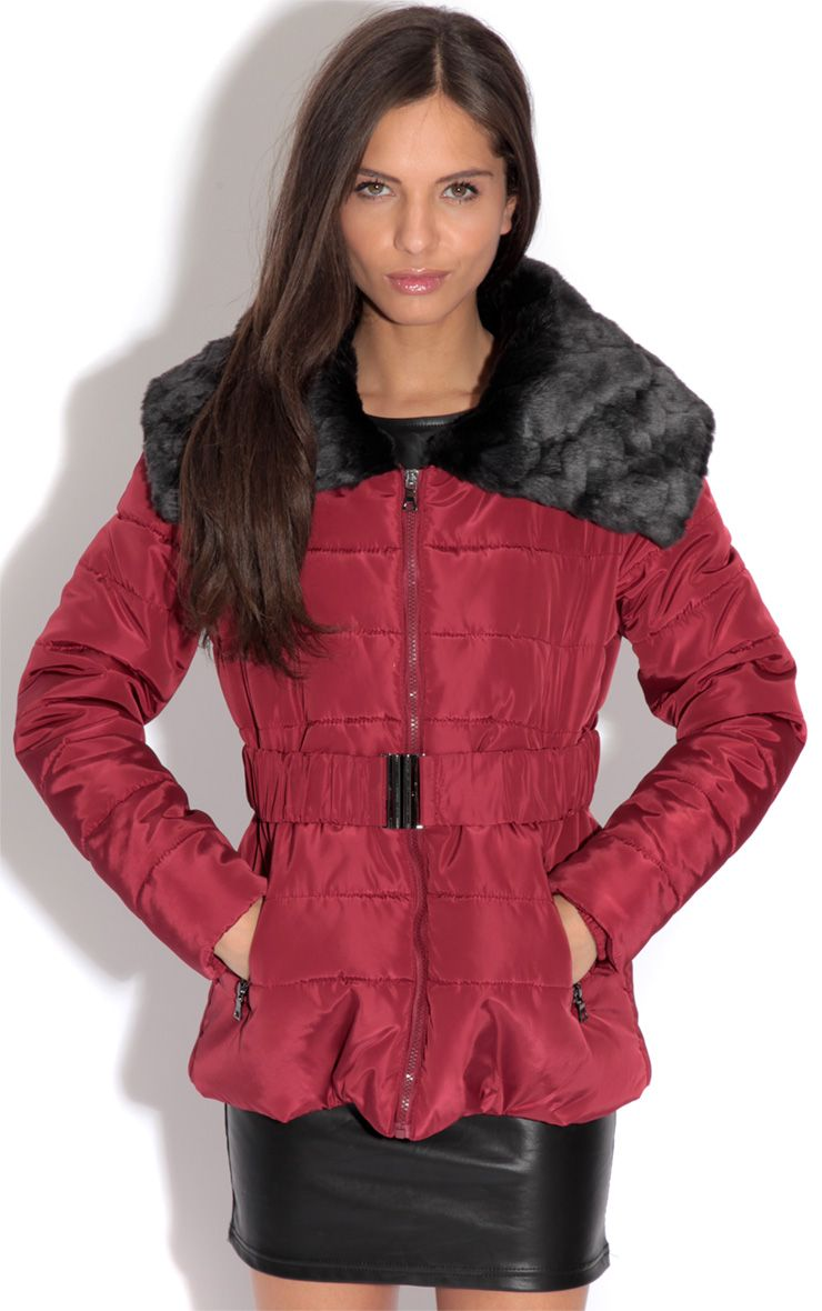 Mara Burgundy Quilted Coat 1