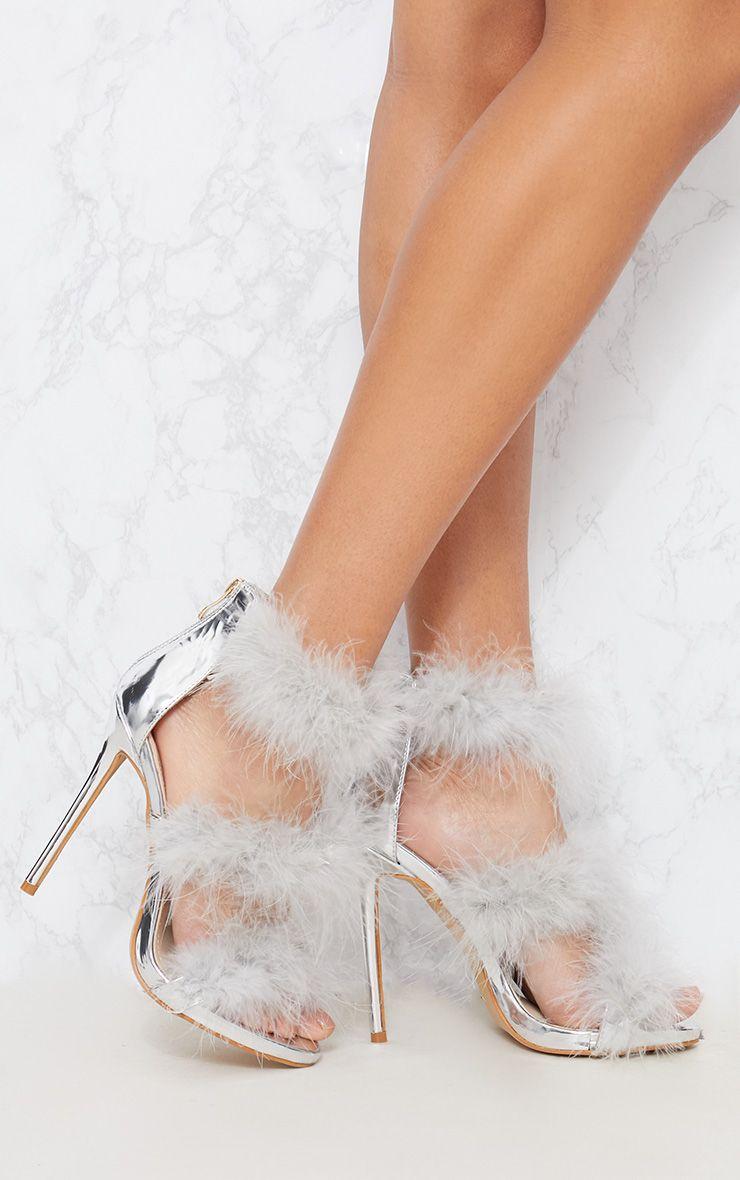 Silver Feather Triple Strap Sandal