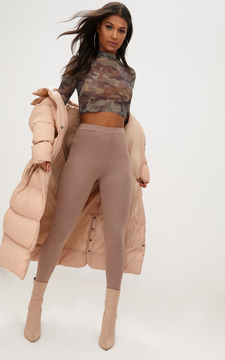 Taupe Ultimate High Waisted Jersey Leggings