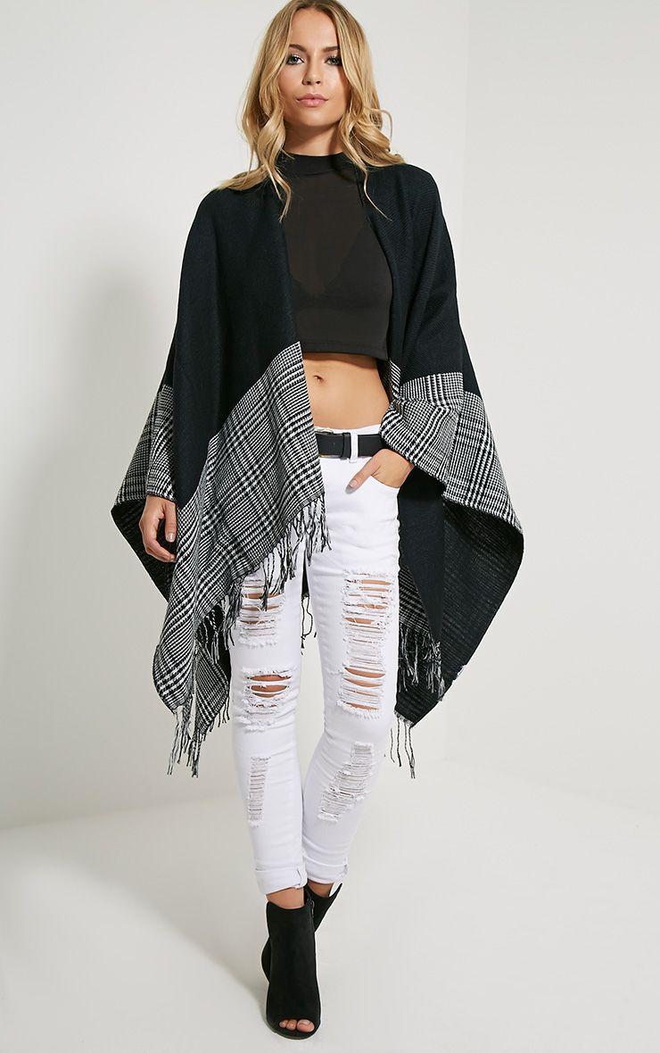 Mayra Tartan Monochrome Knitted Shawl 1