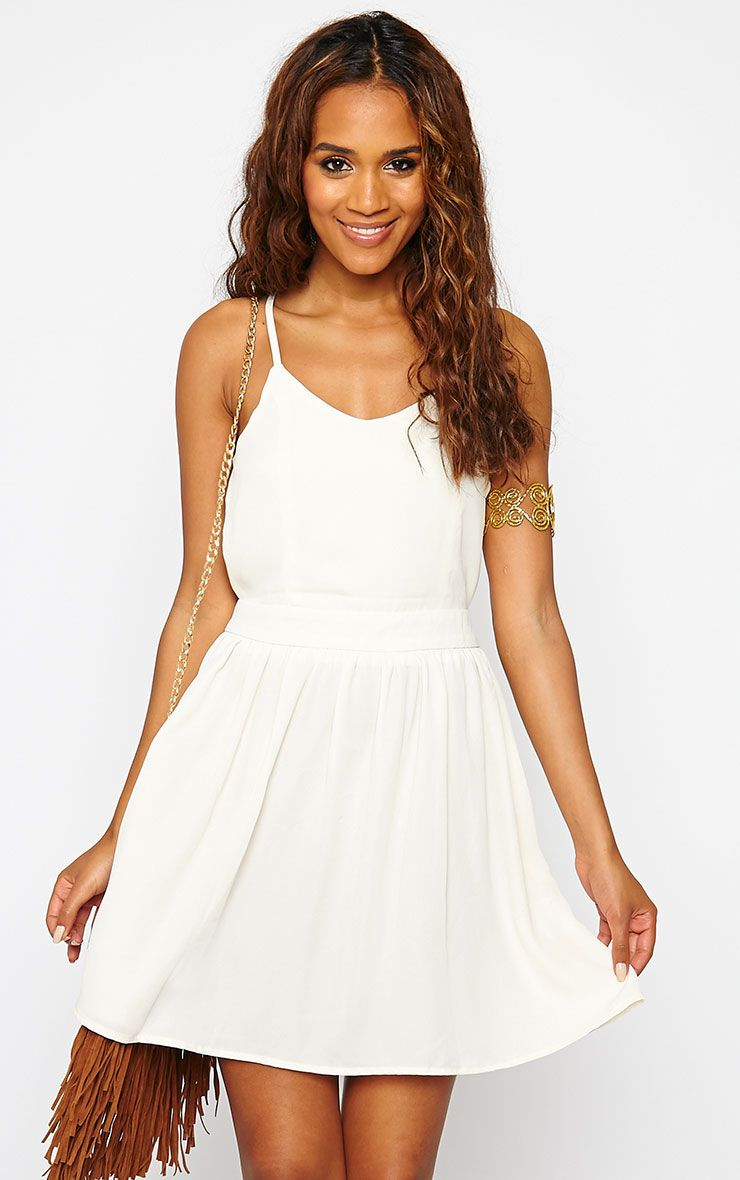Tillie Cream Cross Back Skater Dress 1