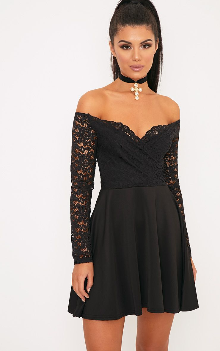 Luciel Black Lace Sleeve Bardot Skater Dress