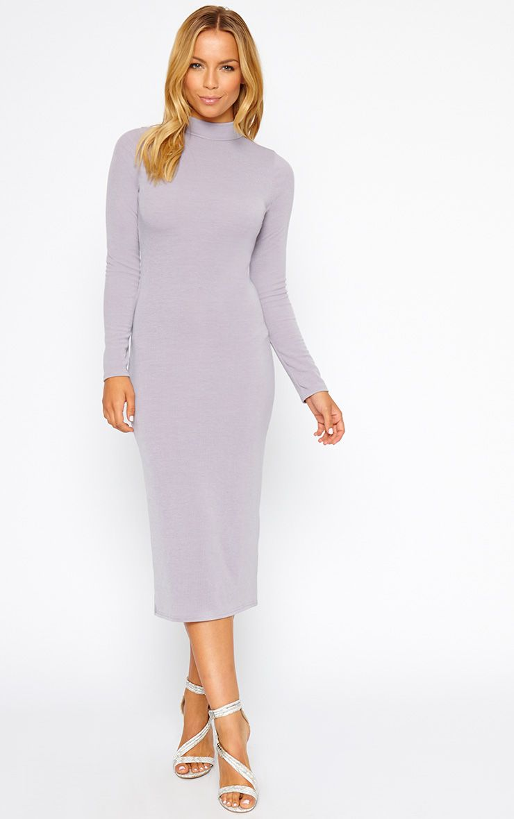 Basic Grey Ribbed Turtle Neck Midi Dress 1