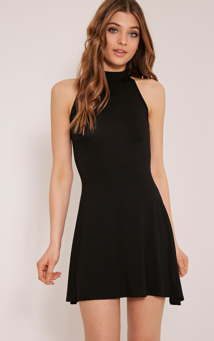 Basic Black High Neck Jersey Skater Dress 1