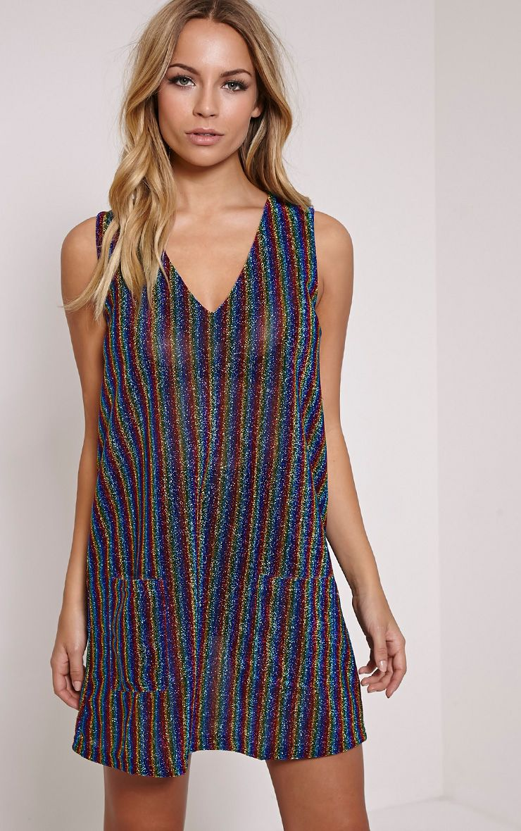 Mellisa Rainbow Stripe Glitter Mini Dress 1