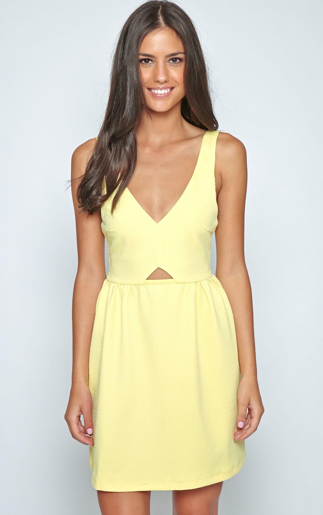Teri Lemon Textured Cut Out Skater Dress 1