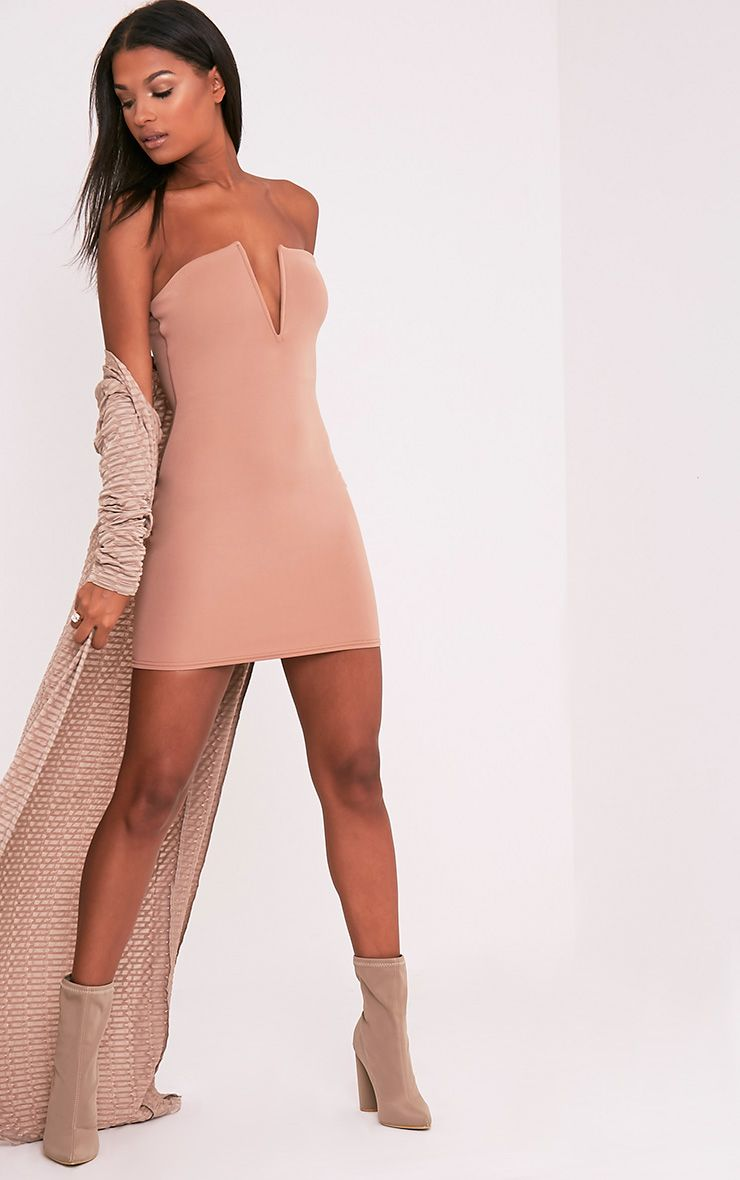 Sofia Camel V Plunge Bandeau Bodycon Dress