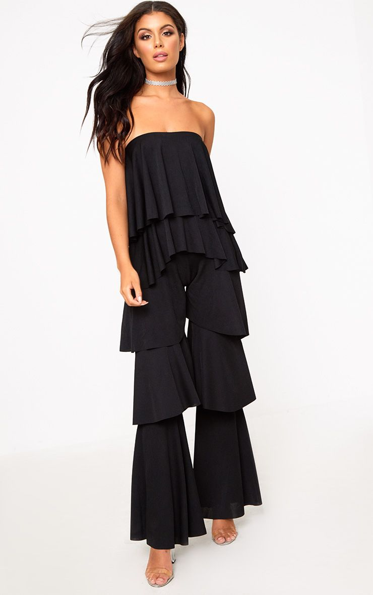 Black Bardot Frill Layer Detail Jumpsuit