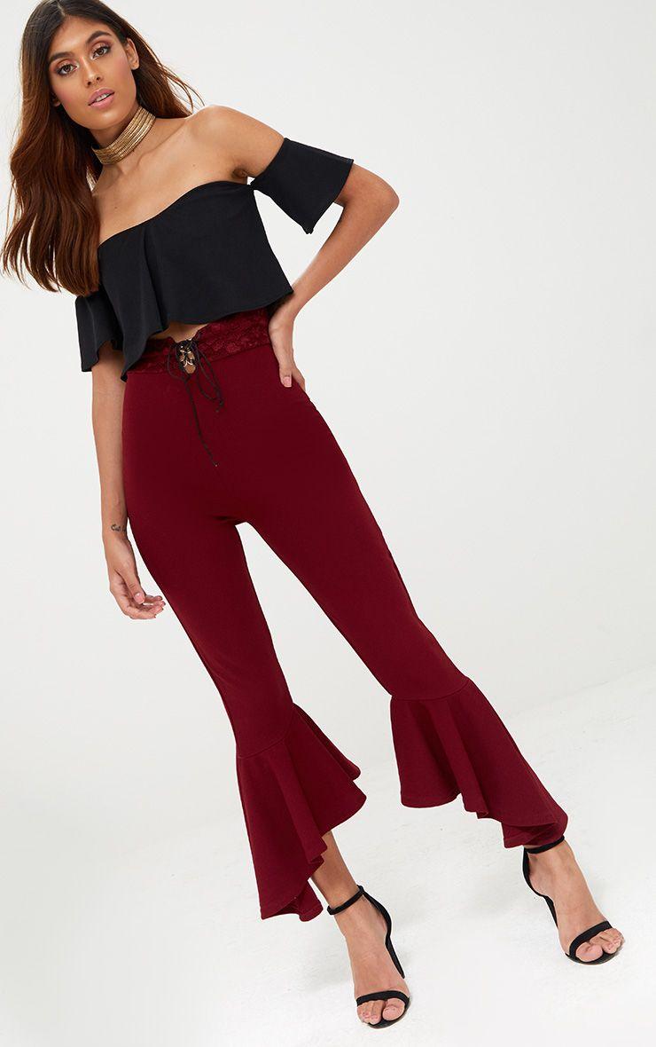 Burgundy Corset Waist Asymmetric Flare Trousers  1