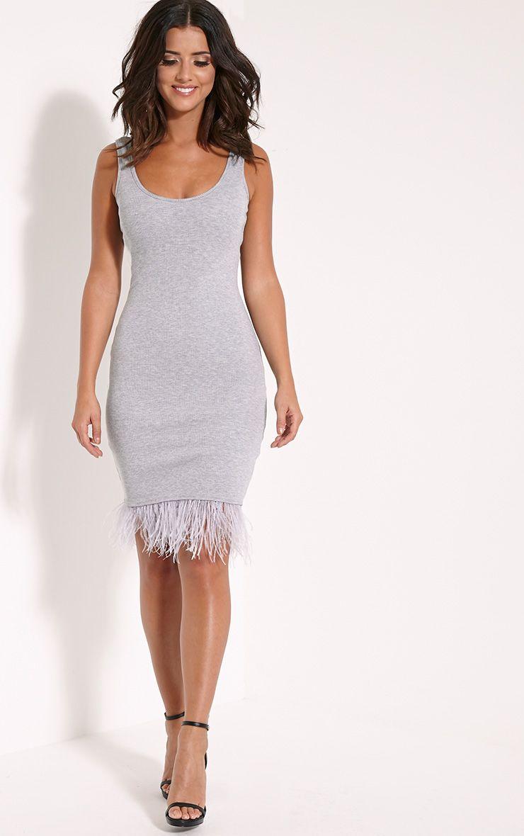 Kaylah Grey Ribbed Feather Trim Midi Dress 1