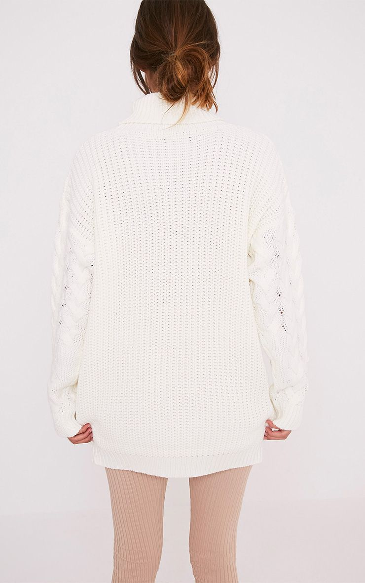 Finolla Cream Oversized Cable Knit Sleeve Jumper 2